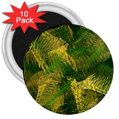 Green And Gold Abstract 3  Magnets (10 Pack)  by linceazul