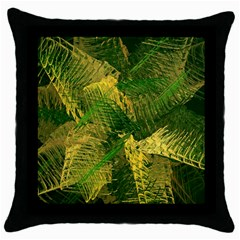 Green And Gold Abstract Throw Pillow Case (black) by linceazul