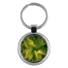 Green And Gold Abstract Key Chains (round)  by linceazul
