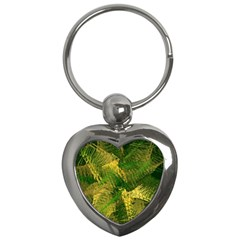 Green And Gold Abstract Key Chains (heart)  by linceazul