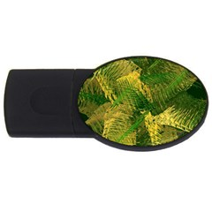 Green And Gold Abstract Usb Flash Drive Oval (4 Gb) by linceazul
