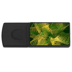 Green And Gold Abstract Usb Flash Drive Rectangular (4 Gb) by linceazul