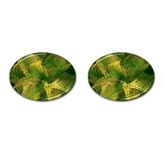 Green And Gold Abstract Cufflinks (oval) by linceazul