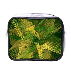 Green And Gold Abstract Mini Toiletries Bags by linceazul