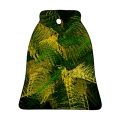 Green And Gold Abstract Bell Ornament (two Sides) by linceazul