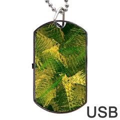 Green And Gold Abstract Dog Tag Usb Flash (one Side) by linceazul