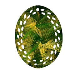 Green And Gold Abstract Oval Filigree Ornament (two Sides) by linceazul