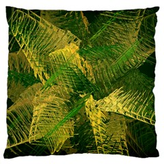 Green And Gold Abstract Large Cushion Case (two Sides) by linceazul