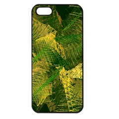 Green And Gold Abstract Apple Iphone 5 Seamless Case (black) by linceazul