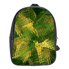 Green And Gold Abstract School Bags (xl)  by linceazul