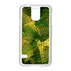 Green And Gold Abstract Samsung Galaxy S5 Case (white) by linceazul