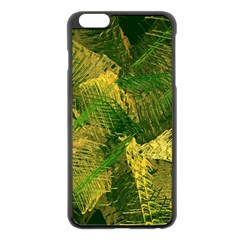 Green And Gold Abstract Apple Iphone 6 Plus/6s Plus Black Enamel Case by linceazul