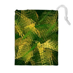 Green And Gold Abstract Drawstring Pouches (extra Large) by linceazul