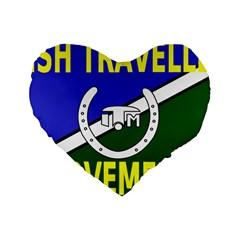 Flag Of The Irish Traveller Movement Standard 16  Premium Flano Heart Shape Cushions by abbeyz71