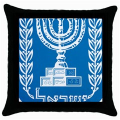 Emblem Of Israel Throw Pillow Case (black) by abbeyz71