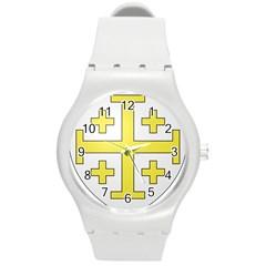 The Arms Of The Kingdom Of Jerusalem  Round Plastic Sport Watch (m) by abbeyz71