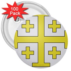 The Arms Of The Kingdom Of Jerusalem 3  Buttons (100 Pack)  by abbeyz71