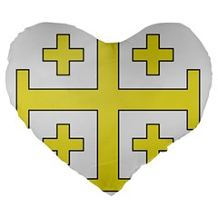 The Arms Of The Kingdom Of Jerusalem Large 19  Premium Heart Shape Cushions by abbeyz71