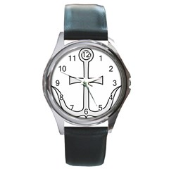 Anchored Cross Round Metal Watch by abbeyz71