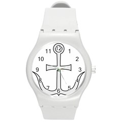 Anchored Cross Round Plastic Sport Watch (m) by abbeyz71