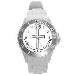 Anchored Cross Round Plastic Sport Watch (l) by abbeyz71