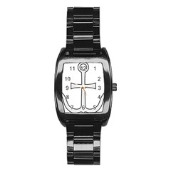 Anchored Cross Stainless Steel Barrel Watch by abbeyz71