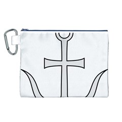 Anchored Cross Canvas Cosmetic Bag (l) by abbeyz71