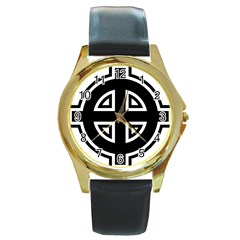 Celtic Cross Round Gold Metal Watch by abbeyz71