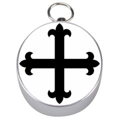 Cross Fleury Silver Compasses