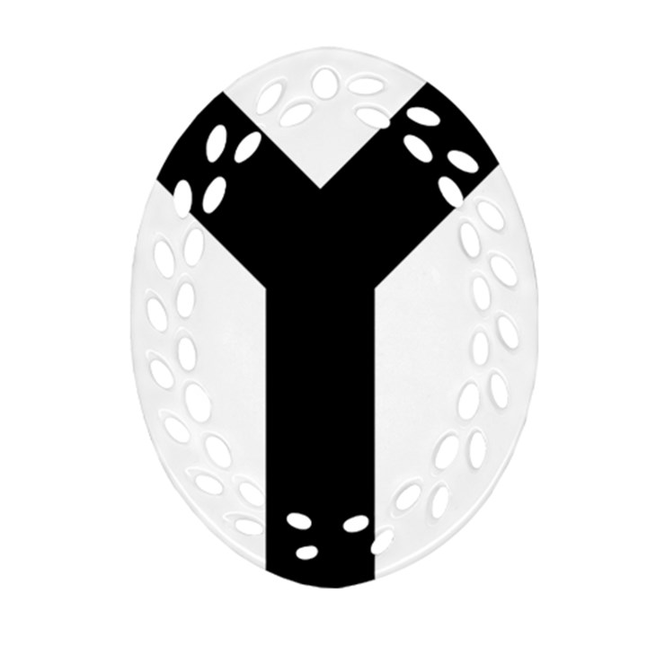 Forked Cross Ornament (Oval Filigree)