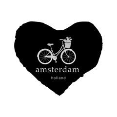Amsterdam Standard 16  Premium Flano Heart Shape Cushions by Valentinaart