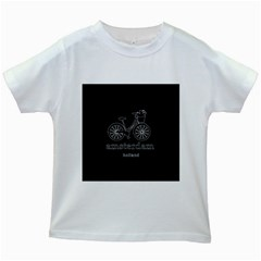 Amsterdam Kids White T Shirts by Valentinaart