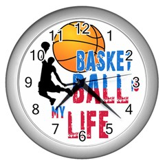 Basketball Is My Life Wall Clocks (silver)  by Valentinaart