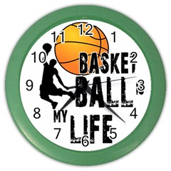 Basketball Is My Life Color Wall Clocks by Valentinaart
