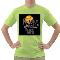 Basketball Is My Life Green T Shirt by Valentinaart
