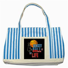 Basketball is my life Striped Blue Tote Bag