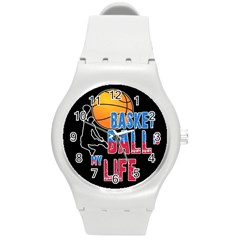 Basketball is my life Round Plastic Sport Watch (M)