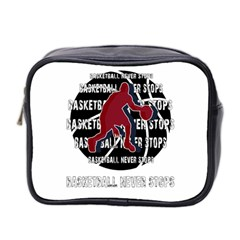 Basketball Never Stops Mini Toiletries Bag 2 Side by Valentinaart