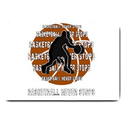 Basketball Never Stops Large Doormat  by Valentinaart