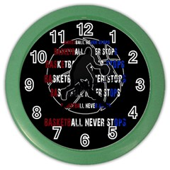 Basketball Never Stops Color Wall Clocks by Valentinaart