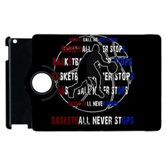 Basketball Never Stops Apple Ipad 2 Flip 360 Case by Valentinaart