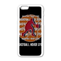 Basketball Never Stops Apple Iphone 6/6s White Enamel Case by Valentinaart