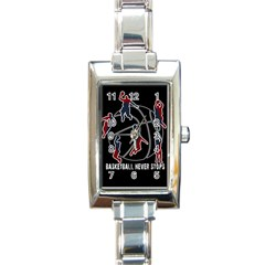 Basketball Never Stops Rectangle Italian Charm Watch by Valentinaart