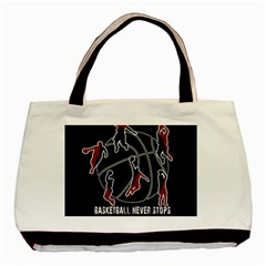 Basketball Never Stops Basic Tote Bag by Valentinaart