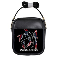 Basketball Never Stops Girls Sling Bags by Valentinaart