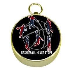 Basketball Never Stops Gold Compasses by Valentinaart