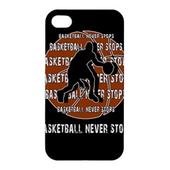 Basketball Never Stops Apple Iphone 4/4s Premium Hardshell Case by Valentinaart