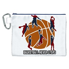 Basketball Never Stops Canvas Cosmetic Bag (xxl) by Valentinaart