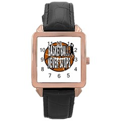 Basketball Never Stops Rose Gold Leather Watch  by Valentinaart