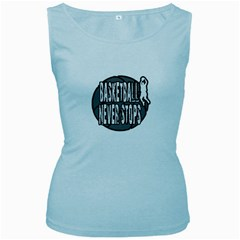 Basketball Never Stops Women s Baby Blue Tank Top by Valentinaart